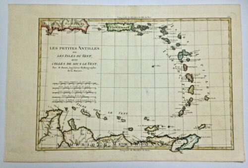 CARIBBEAN 1780 by RIGOBERT BONNE ANTIQUE ENGRAVED MAP 18TH CENTURY