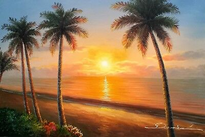Sunset On The Island   4  24X36 100  Hand Painted Oil Painting On Canvas