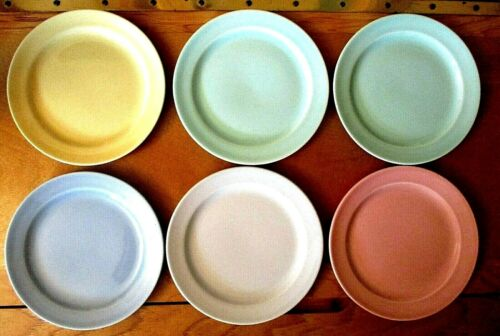 "6~LuRAY Pastels 6-1/4"" BREAD BUTTER Plates~GREY Pink Green Yellow Blue~T.S. & T."
