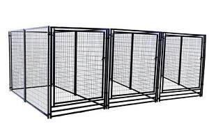 Deluxe Outdoor Welded Panel Dog Kennel Run Triple Door Kit