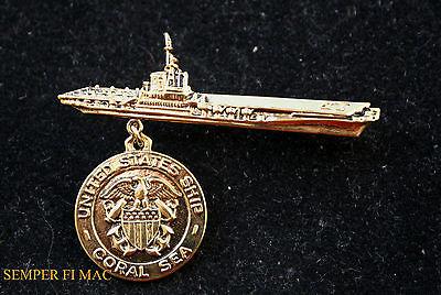USS CORAL SEA CV CVB CVA-43 HAT BROACH PIN MADE IN US NAVY MARINES CARRIER WING