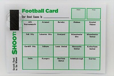 Pack of 20 Fund Raising Charity Event Football Scratch Cards 20 Teams