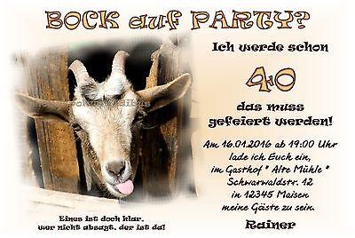 40 Einladungskarten Geburtstag BOCK AUF PARTY Einladungen JEDES ALTER 30 50 60 ()
