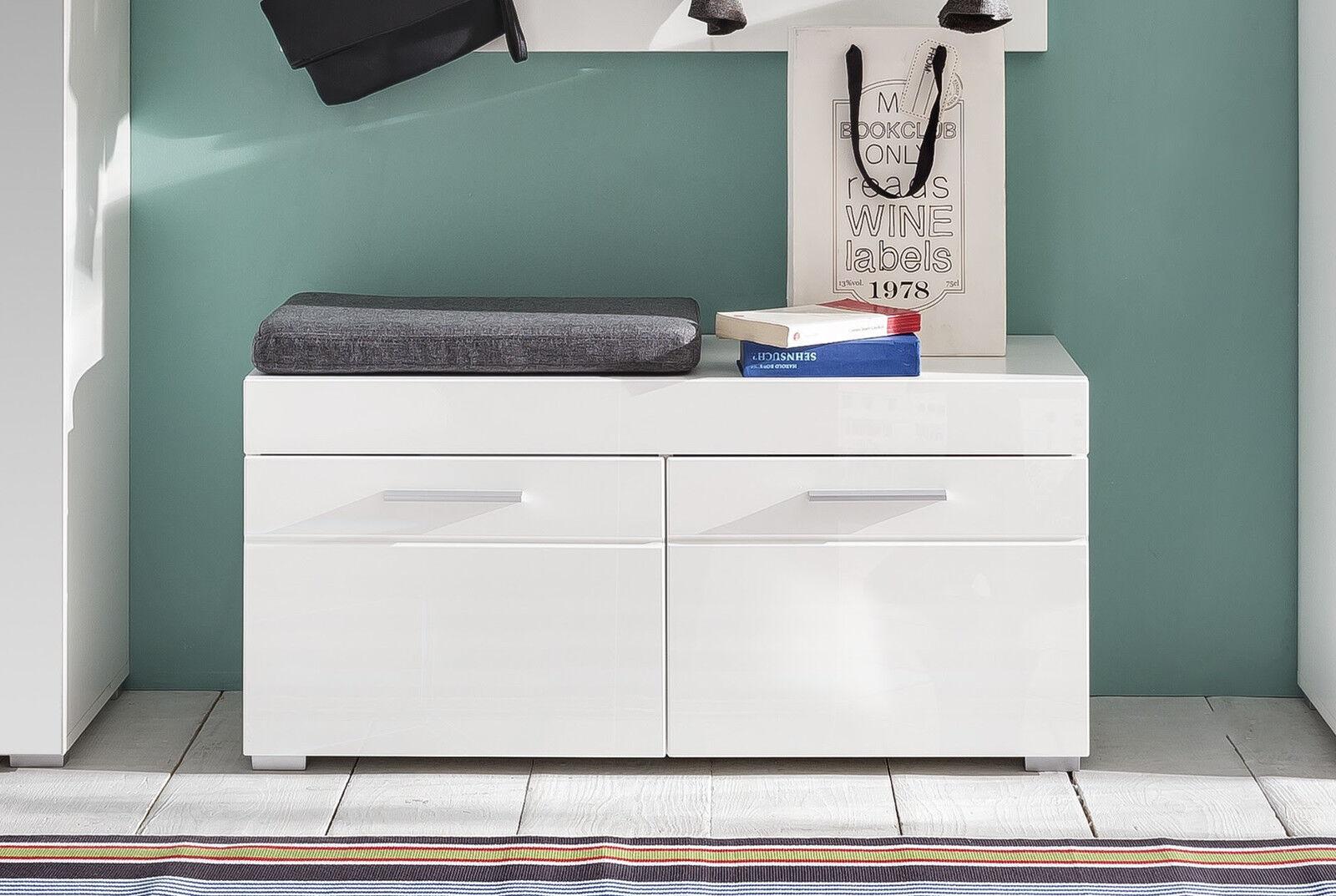 sitzbank wei hochglanz schuhbank amanda flur diele. Black Bedroom Furniture Sets. Home Design Ideas