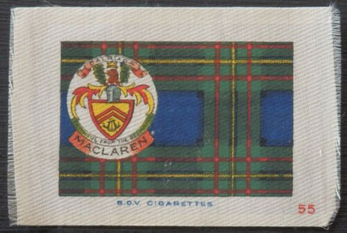 MACLAREN Clan Tartan and Coat of Arms 99 year old SILK card issued in 1922