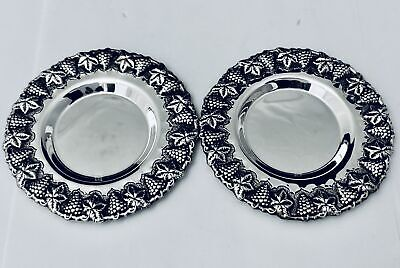"""SET OF 2 ROUND 925 STERLING SILVER TRAYS /PLATE'S 4.5"""";-NEW"""