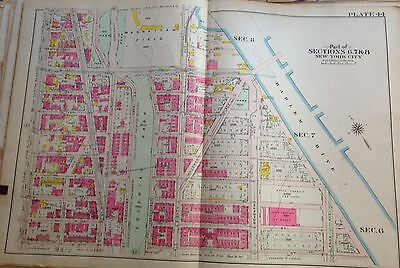ORIG 1908 G.W. BROMLEY MANHATTAN FIELD POLO GROUNDS MANHATTAN NY ATLAS MAP