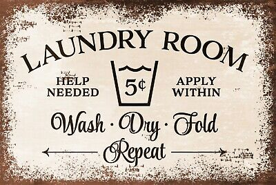 Laundry Room Plaque Vintage Style Retro Metal Sign, washing clothes, laundrette