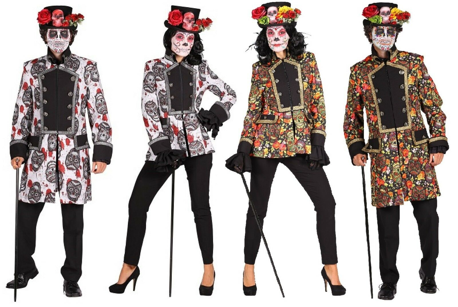 Jacke Tag der Toten Dia de los Muertos Kostüm Mantel Mexican Skull Mexikaner Hut