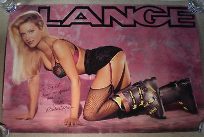 Large Original Lange Ski Boots Poster Beautiful Model Barbara Moore 1992 Signed