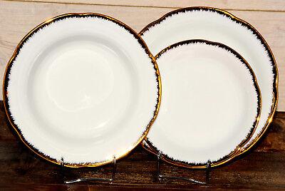Gold-service Plate (Round Porcelain Dinner Set 18 Piece Vintage Dinnerware Gold Rimmed Service Plate)