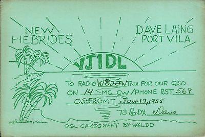 OLD VINTAGE YJ1DL PORT VILA NEW HEBRIDES AMATEUR RADIO QSL CARD