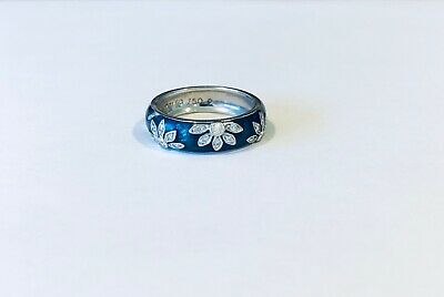 Vintage Hidalgo 18KT White Gold Enamel Diamond Ring, Ring Size 6.5