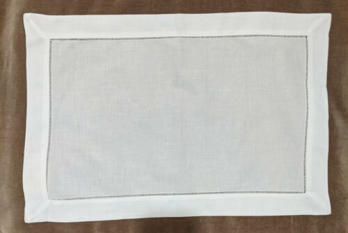 "Hemstitch Placemats - 100% Linen - White - 14"" x 20"" Set of 6"