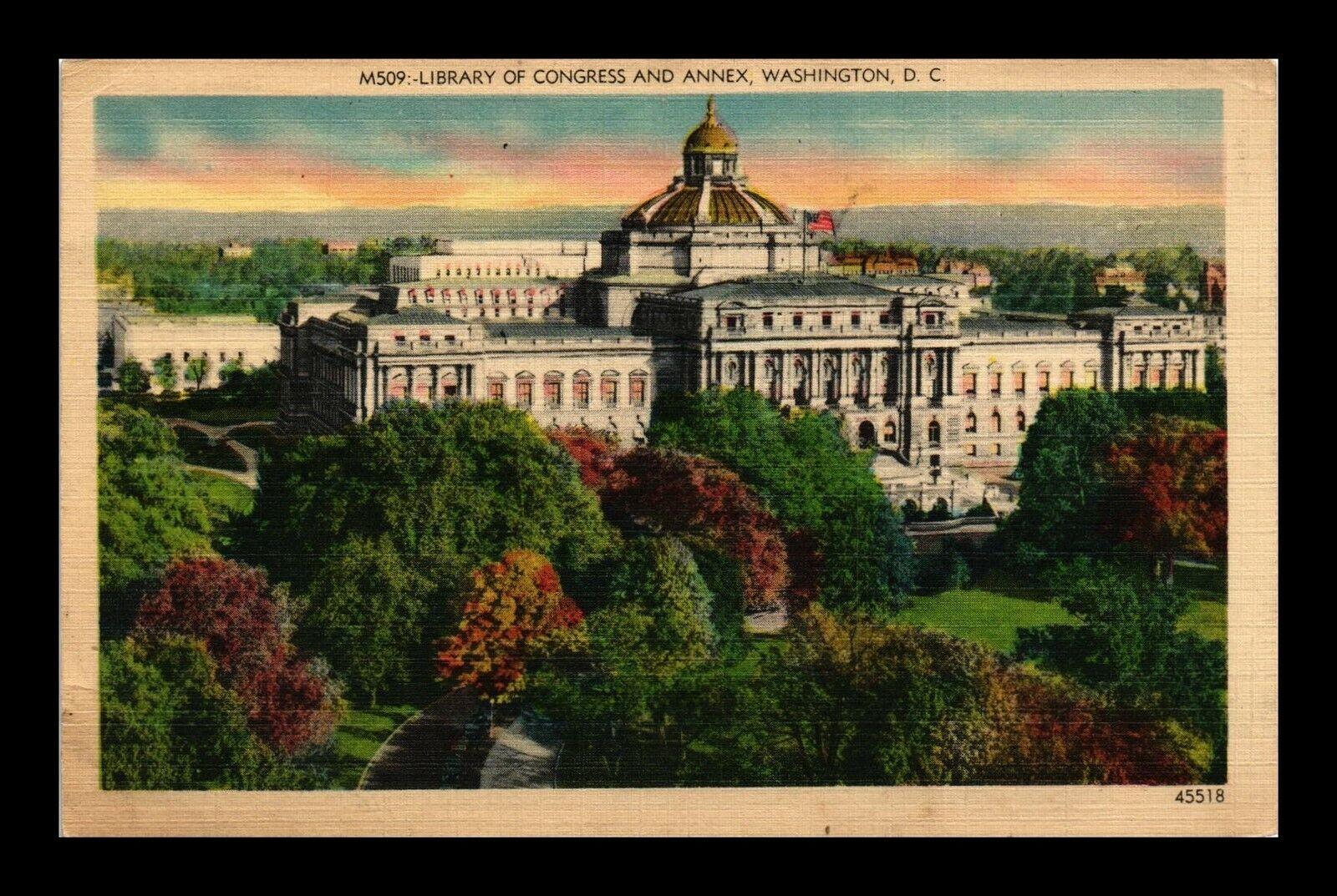 DR JIM STAMPS US LIBRARY OF CONGRESS ANNEX WASHINGTON DC LINEN POSTCARD 1942 - $0.25