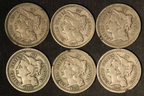 Mixed Date Lot of (6) 3c Nickel Three Cent Pieces - Free Shipping USA