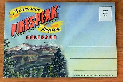 Postcard Foldout Pikes Peak colorado 16 pics Unposted. M24