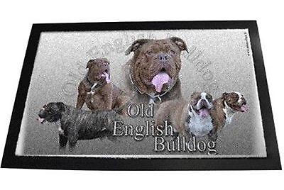 Designer Fussmatte Old English Bulldog Olde Bulldogge OEB  Hundeteppich 80x60cm