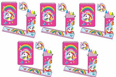 Rainbow Unicorn Stationery Favour Pack, 20 Items Party Loot Bag Fillers Gifts (Unicorn Items)