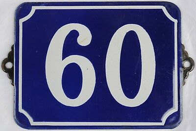 Large old French house number 60 door wall plate plaque enamel steel metal sign