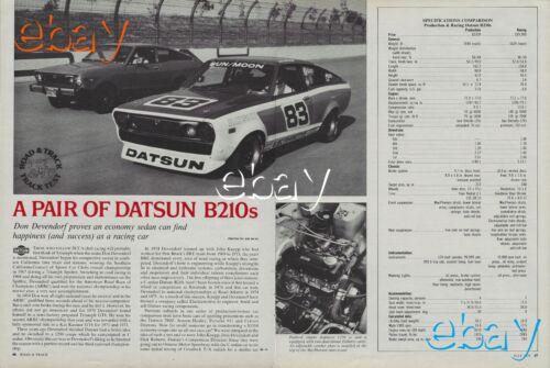 1976 Datsun B210 Fastback Road & Track Magazine Vintage Road Test Article Ad 76
