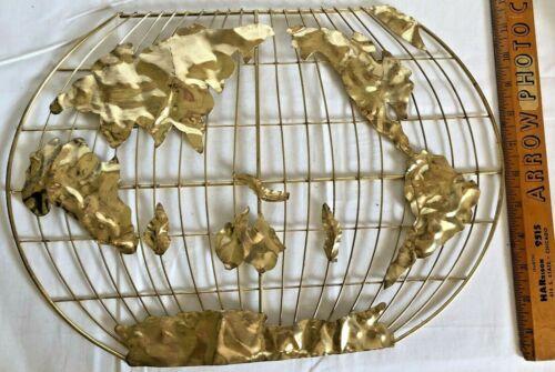"Metal Art World Map MCM Jere Style Gold Tones 3D Wall Sculpture Art 16"" x 11 1/4"