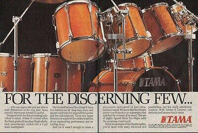 1989 2pg Print Ad of Tama Artstar II Limited Drum Kit Canadian Maple