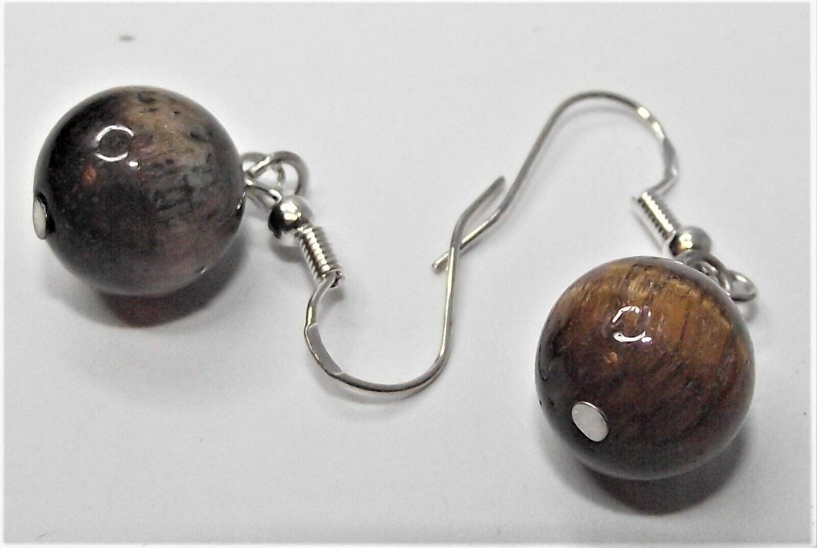 Pretty Tigers Eye Set Necklace Bracelet Silver Tone Lobster Claw Hook Earrings - $20.00