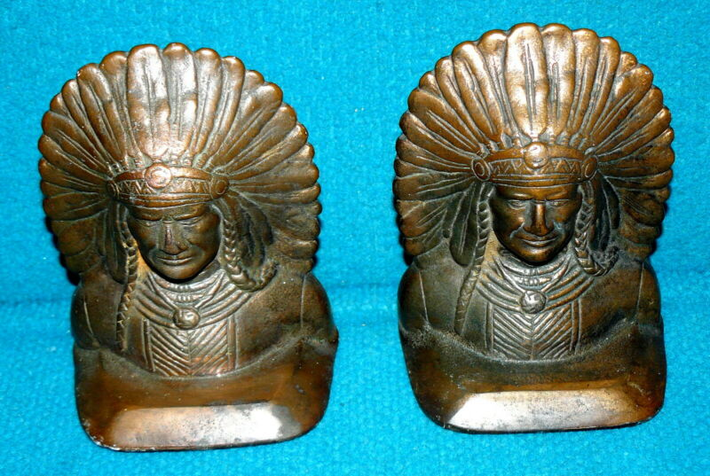"Antique : INDIAN CHIEF ""Copper/Bronze"" CAST BOOK ENDS @ Vintage NATIVE AMERICAN"