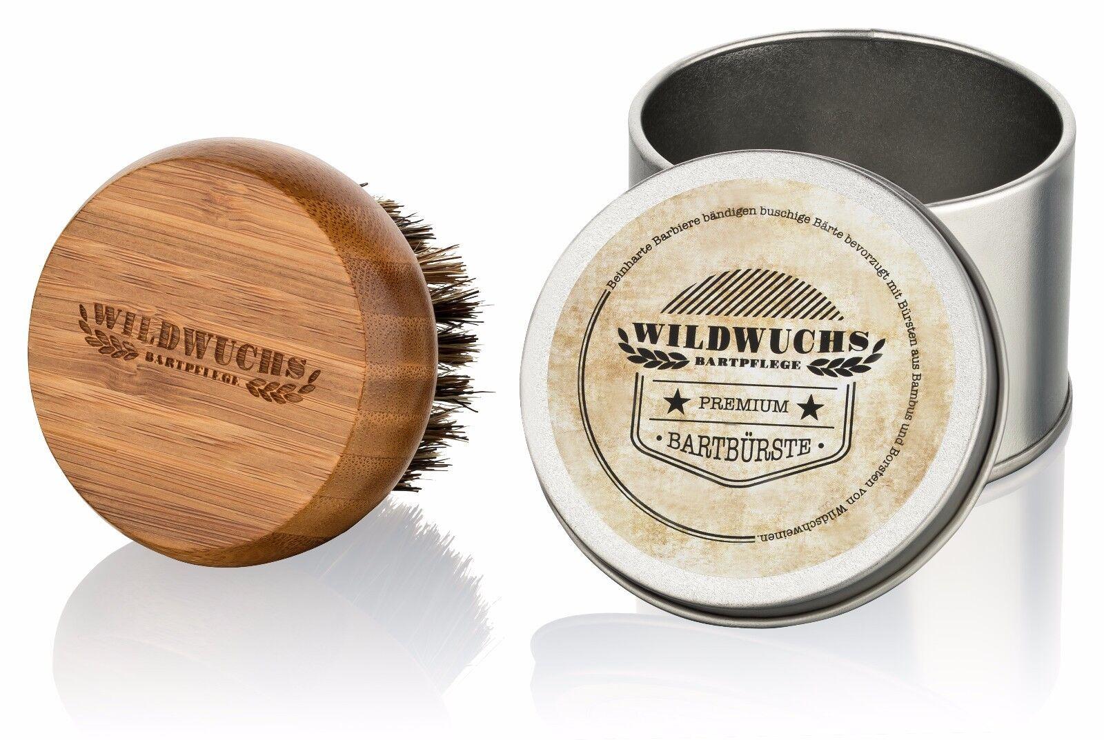 Bartbürste von Wildwuchs Bartpflege aus Bambus mit Wildschweinborsten Geschenk