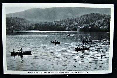 VA Clifton Forge Boating on the Lake at Douthat State Park Vintage Postcard