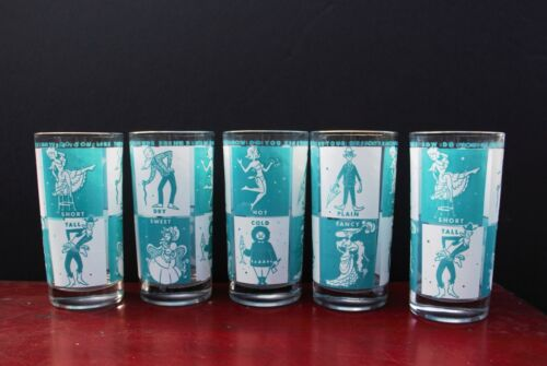 MCM bar glasses with turquoise graphics, drink references