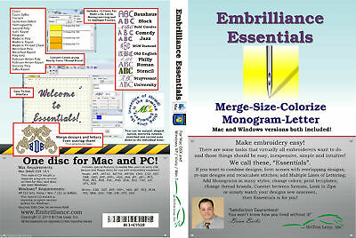 Embrilliance Essentials Embroidery Software. BX Fonts, Sizing, Monogramming  Embroidery Fonts Software