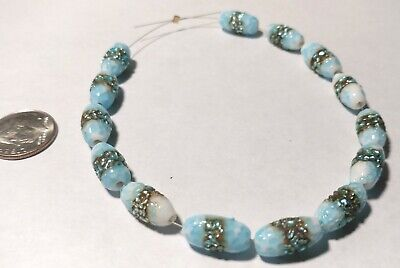 14 Vintage Japanese Blue and White Frit with Foil Bands Collectible Glass Beads