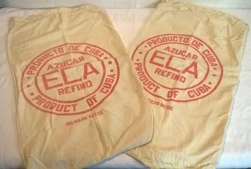 Vintage Cuban Sugar Sack x2 Cotton Material Upcycling Spanish Printed Material