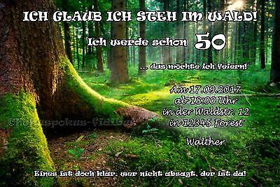 40 witzige Einladungskarten Geburtstag Wald Einladungen JEDES ALTER 50 60 70 80