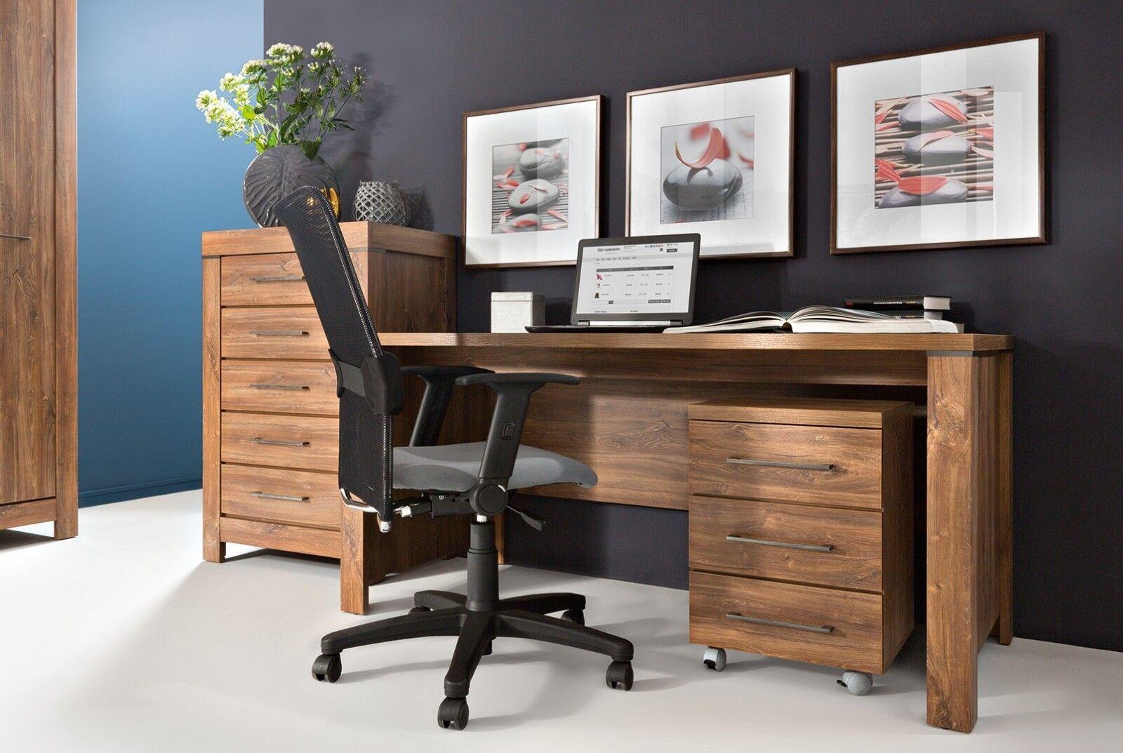 Image of: Large Desk Mobile Pedestal Drawer Set Oak Effect Modern Study Home Office Gent Ebay