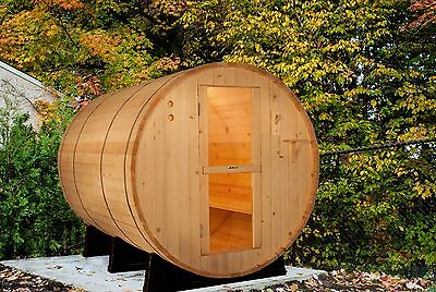 Barrel Sauna, Red Cedar, Electric Heater Included, 8 Feet, Fits 6 (BRT-68-U) Cedar Barrel Sauna