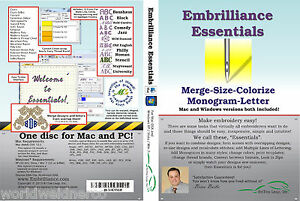 embrilliance essentials machine embroidery software winmac lettering editing