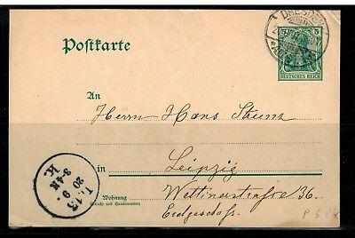 Deutsches Reich Postkarte P 58 x von Dresden nach Leipzig -int.Nr.111