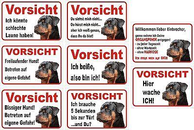 Schild Vorsicht Rottweiler 15x20 bis 40x60cm, Hund Achtung Warnschild Türschild