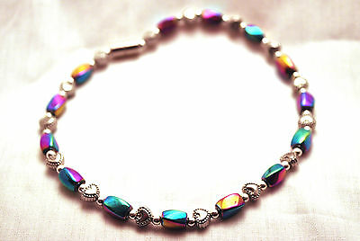 LADIES 10 IN RAINBOW HEMATITE & SILVER HEARTS MAGNETIC THERAPY ANKLET: 4 Pain!