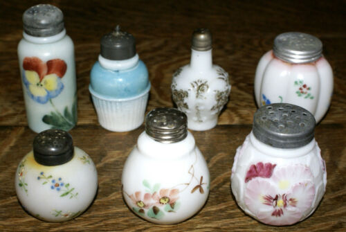 SEVEN Antique EAPG Milk Glass Cased Melon Round Salt and Pepper Shakers