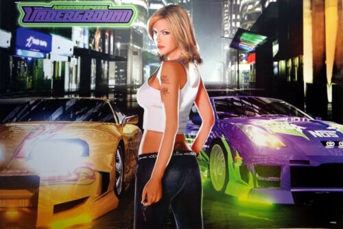 "SPORTS CAR POSTER: ""NEED FOR SPEED UNDERGROUND"" - Girl In Front Of 2 Cars"