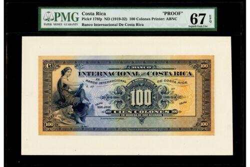 100 Colones ND (1919-32) Banco Internacional De Costa Rica PMG 67 EPQ Superb Gem