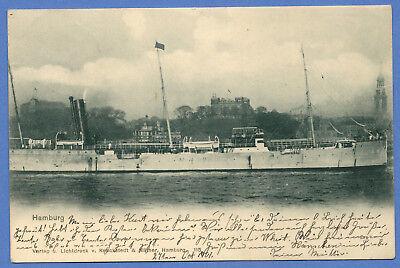 Alte AK Postkarte Deutschland   Hamburg Hafen Groß Schiff 1901 mit Briefmarke