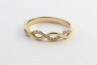 14k Yellow Gold Braided Style Diamond Wedding Band Ring
