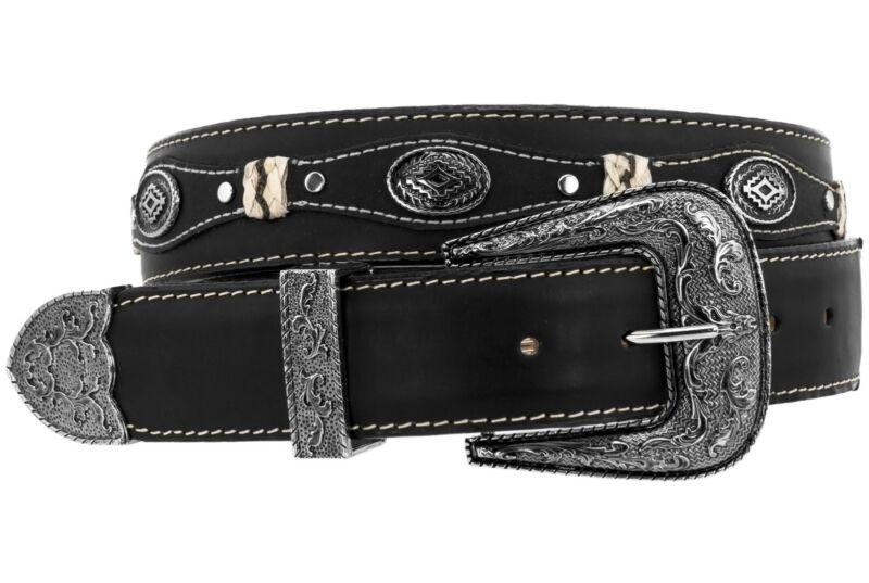 Mens Concho Western Belt Genuine Leather Cowboy Silver Studs Buckle Black