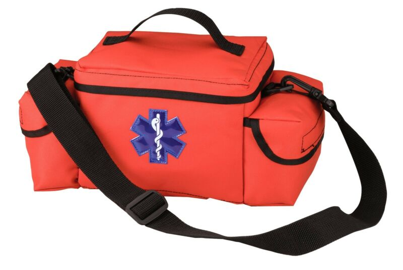 Orange EMS Bag w/ Star of Life - E.M.S. Rescue Bag - Many Pockets/Shoulder Strap