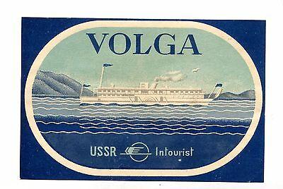 Vintage Label USSR INTOURIST Cruise Ship VOLGA boat Russia